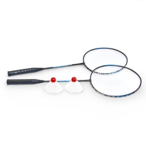 Set de bádminton 2 volantes 2 raquetas En azul y negro Aluminio