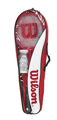 Wilson Tour Set de bádminton Incluye 4 Raquetas, 3 Volantes, 1 Red, 2 Soportes telescópicos,...