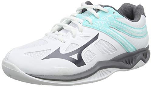 Mizuno Thunder Blade 2, Zapatos de Voleibol Mujer, Blanco (Wht/Dshadow/Aruba Blue 85), 38 EU