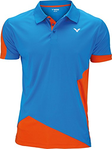 Victor Function 6128 Mens Badminton/Squash Polo Shirt (Orange-Blue)