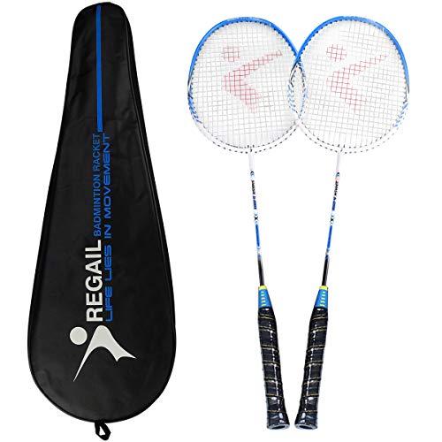 Pack de 2 raquetas de bádminton, raqueta ligera de bádminton con aleación de carbono deportiva,...