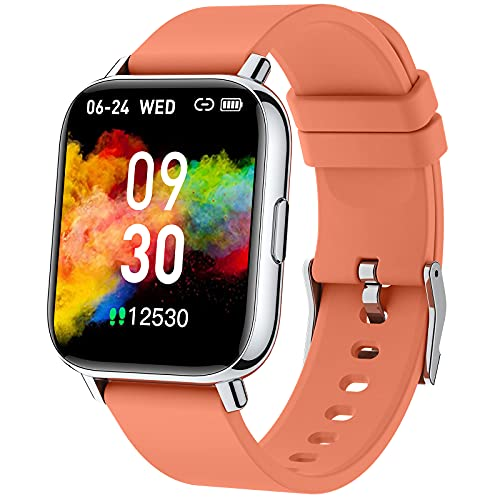 Smartwatch Naranja, 1.69' Reloj Inteligente Hombre Mujer 24 Modos Deporte IP68 Impermeable Reloj...