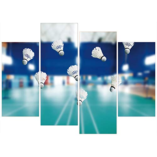 HOMEDCR Murales HD Impreso Lienzo Pintura Wall 4 Panel Badminton Court Art Modular Poster Picture...