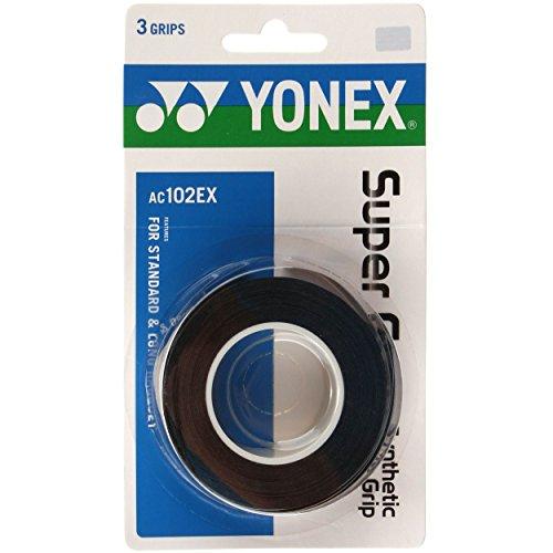 YONEX Overgrip Super GRAP 3er - Mango de Raqueta de Tenis, Color Negro, Talla Standard