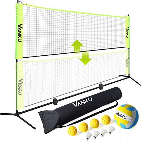 Vanku Red Voleibol/Bádminton/Tenis Portátil Desplegable Ajustable de 5m x 0.6m, con Voleibol, 4...