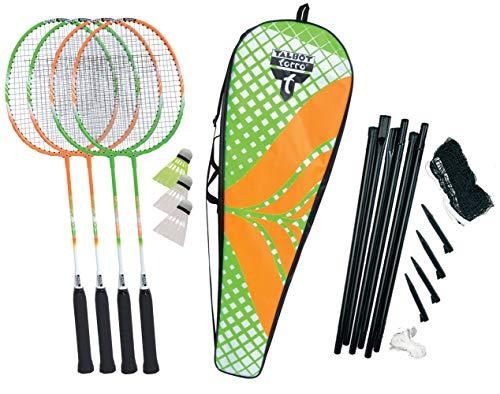 Talbot Torro 449406 Set de Badminton 4-Attacker Plus, 4 Raquetas, 3 Volantes, Juego de Red Completo,...