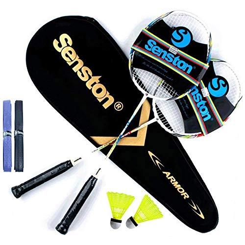 Senston Raquetas de Bádminton,Unisex Adulto Badminton Racket-Incluyendo bádminton Bolsa/2...