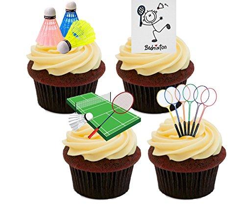 Bádminton–Decoración para tarta para comestible stand-up Cupcake de oblea toppers, Pack de...
