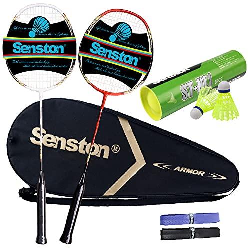 Senston Juego de bádminton de 2 Jugadores Raqueta de bádminton de Carbono, Incluyendo bádminton...