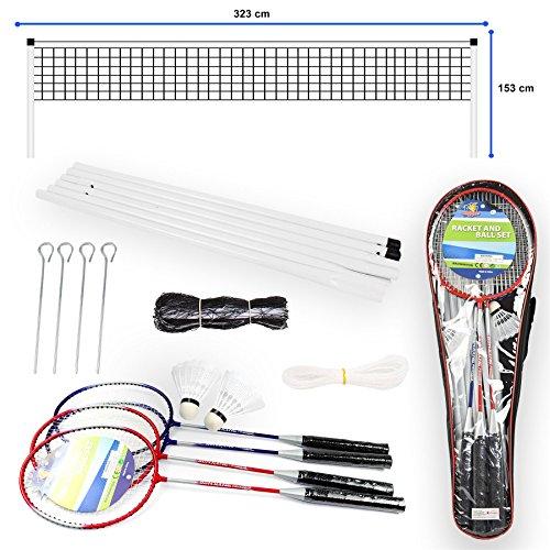 Vinsani® Set de bádminton portátil para 4 jugadores con 2 raquetas y red, volantes y postes con...