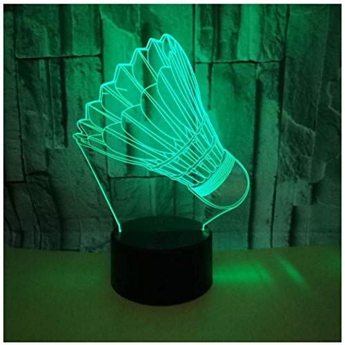Lámpara 3D creativa de bádminton, regalo de decoración del hogar, luz de noche 3D, encantadora...